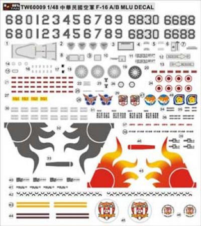 1:48 R.O.C. F16 A/B MCU Decal