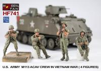 1/35 U.S. ARMY M113 ACAV CREW IN VIETNAM WAR-4 FIGURES W/ WOOD CASE