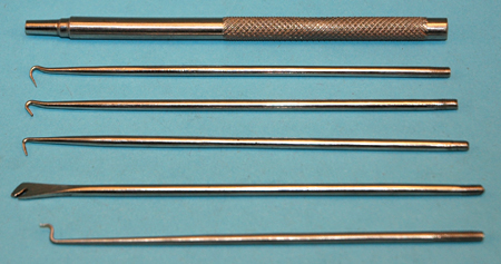 5 Pc. Ss Spring Hook Set With Knurled Handle